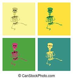 assembly flat illustration skeleton Halloween monster -...