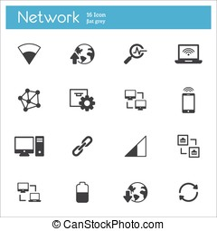 Network icons set - Data analytic and social network icons...