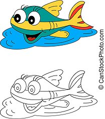Color coloring book for young children - colorful fish