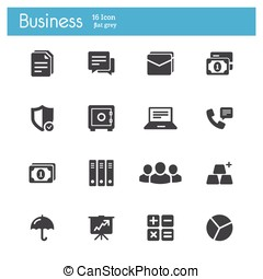 Business and Banking icons - Business and Banking flat gray...