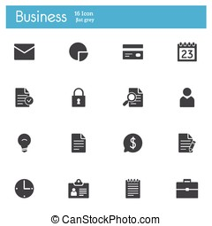 Bussines gray flat icons set