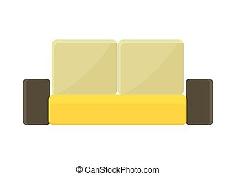 Yellow - Brown Sofa - Yellow - brown sofa Two-colored fabric...