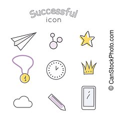 Successful Icons Set. Indispensable Things - Successful...