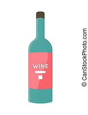 Bottle with Alcohol Vector in Flat Style Design. - Bottle...