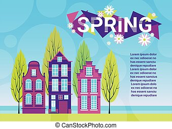 Village Spring Landscape Houses Green Grass Blue Sky Banner With Copy Space