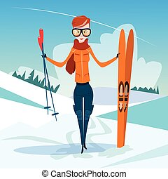 Woman Standing Hold Ski Winter Activity Sport Vacation Snow...