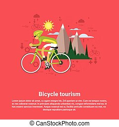 Bicycle Travel Mountain Tourism Web Banner
