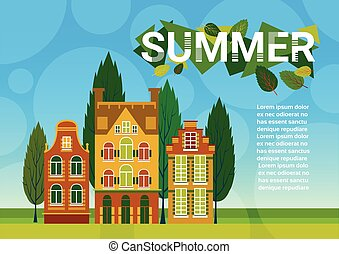 Village Summer Landscape Houses Green Grass Blue Sky Banner With Copy Space