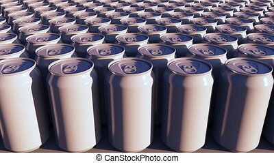 Generic white aluminum cans at sunset. Carbonated drinks or...