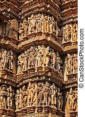 Famous sculptures of Khajuraho temples, India - Famous stone...