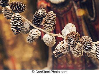 conos, pino, navidad, año, nuevo, decoración