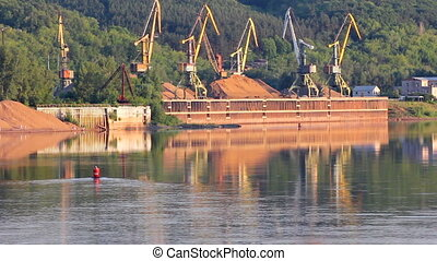 port cranes on river - port cranes on the river