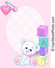 Baby pink arrival card - Pink design with Teddy Bear and...