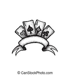 vector hand drawn cards illustration - vector black work...