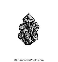 vector hand drawn crystals illustration - vector black work...