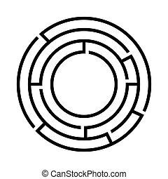 Black round maze. Vector