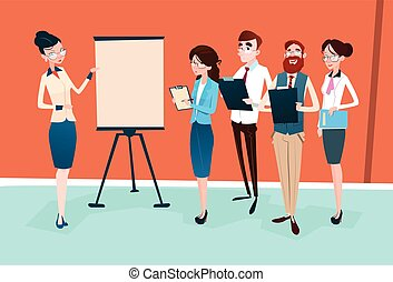 Business People Group Presentation Flip Chart,...
