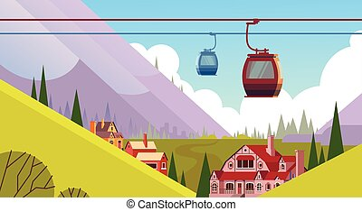 Cable Car Transportation Rope Way Over Mountain Hill Village...