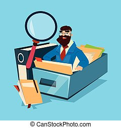 Business Man With Magnifying Glass Finance Documents Analysis