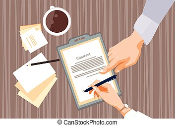 Contract Sign Up Paper Document Business People Agreement...