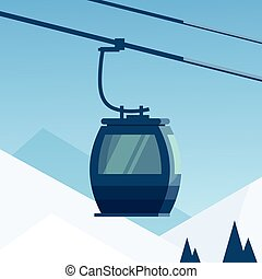 Cable Car Transportation Rope Way Over Winter Mountain Hill...