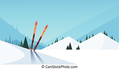 Ski In Snow Winter Sport Mountain Background Flat Vector...