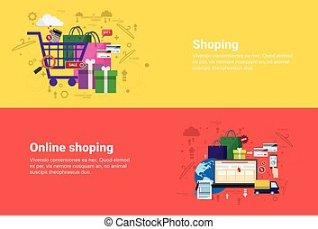 Online Shopping Delivery Transaction Web Banner Flat Vector...