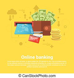 Financial Online Banking Business Web Banner Flat Vector...