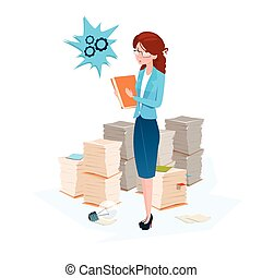 Business Woman Stacked Paper Document Paperwork Flat Vector...