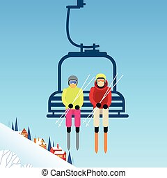 People Skier On Cable Car Transportation Rope Way Over...