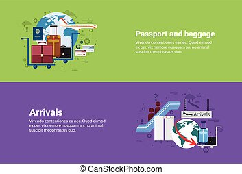 Arrivals Passport Luggage Airplane Departure Transportation...
