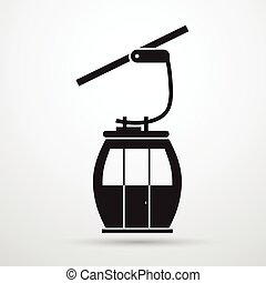 Cable Car Transportation Rope Way Silhouette Black Icon Flat...