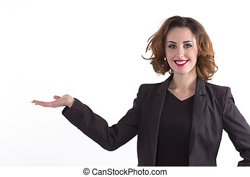Beautiful happy woman holds palm with space for text