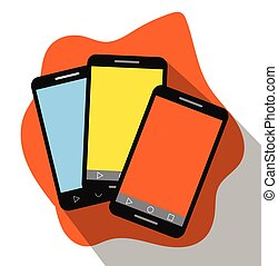 Colorful Touch Screen Mobiles Vector Illustration