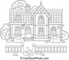 Toy village house - Black and white vector illustration of a...