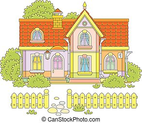 Toy village house - Vector illustration of a colorful...