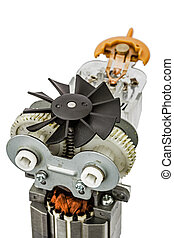 Part of electric motor with fan, close-up, isolated on white...