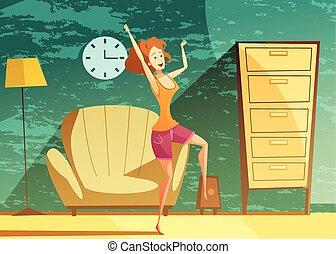 Girl Dancing Alone Cartoon Poster