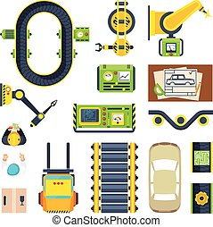 Production Line Elements Icon Set - Flat icon set of car...