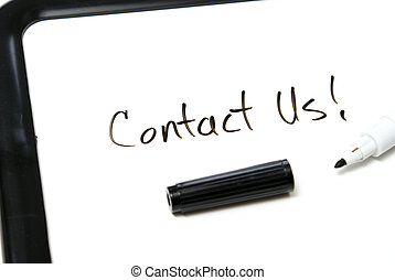 Contact Us - Contact us is hand written in black marker on...