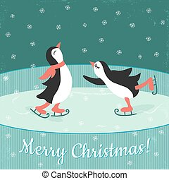 skating pinguins - vector illustration of a couple of...