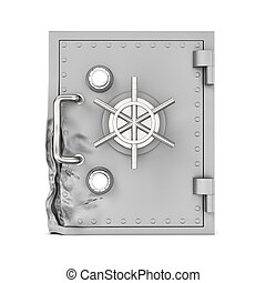 Rendering of broken safe box isolated on white background -...