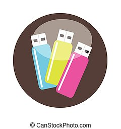 Colorful USB Flash Drives Vector Illustration