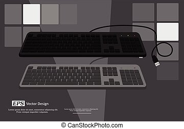 Keyboards Vector - Retro Wired Keyboards Vector Illustration