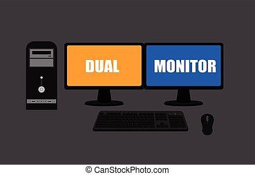 Dual Display Monitors Computer Vector Illustration
