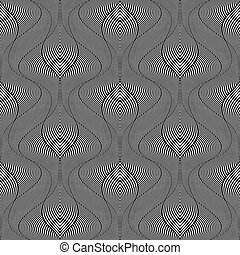 Seamless op art pattern. Wavy striped lines texture. Vector...