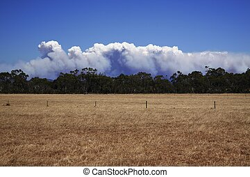 bush fire inland the Great Ocean Road - deep blue sky over...