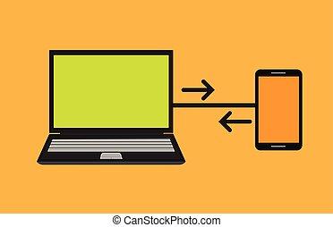 Transferring Data Vector Illustration
