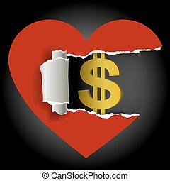 Love and money concept - Ripped paper heart with dollar...