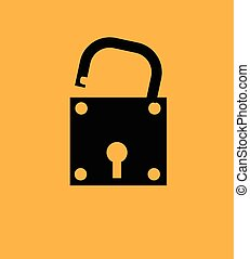 Open Lock Shape Vector Illustration